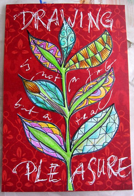 Mail Art & Prompt6ixRed card with doodled plant