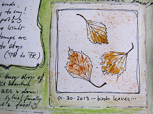 birch leaves - sketch with ZIG marker and acrylics