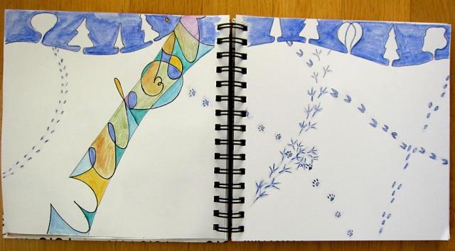 Tracks in the Snow - week 6 of 2013 Art Journal