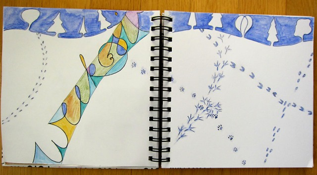 Tracks in the Snow - week 6 of 2013 Art Journal