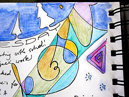 Art Journal page detailwater color pencil, markers
