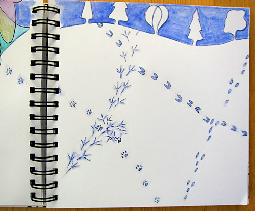 page 2 of the 'Track in the Snow' spread - before journaling