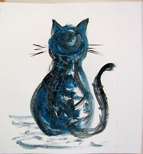 miau (this one speaks German ;)) Acrylics & Crayon