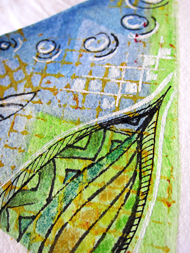 detail of my section of the card - mail art 'create & pass'
