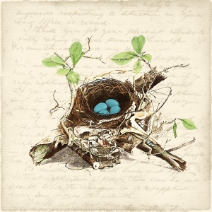 "Free printable:2""x2"" ""Bird's nest with blue eggs"""