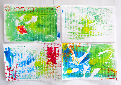 experimental background on index cards (acrylics printed using cardboard piece covered with plastic wrap (Saran)