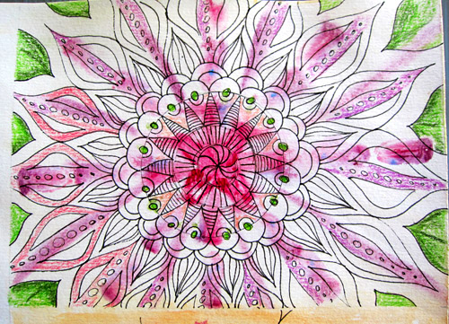 Mandala in progress - watercolor background & Faber-Castell Pitt Pen doodles
