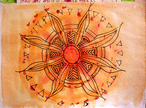 Mandala in progress - watercolor background; Faber-Castell Artist Pen doodles