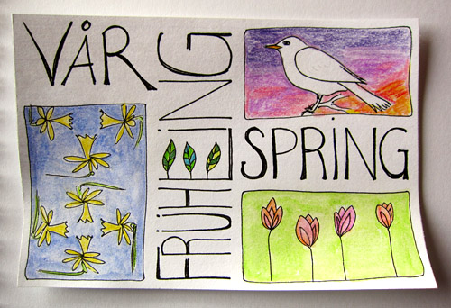 Spring' Mail Art - Watercolors, Faber-Castell Pitt Pen on index card