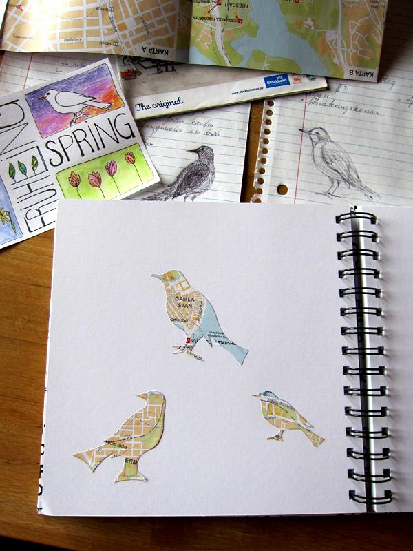 Art Journal Page - Bird Silhouettes - in progress