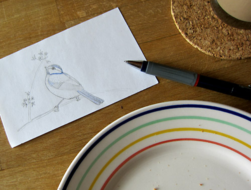 little chickadee - little sketch (while having coffee & cookies with my kids)