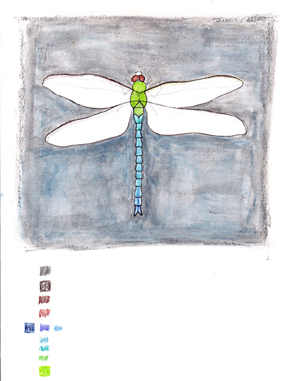 dragonfly - watercolor in progress